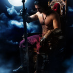 Medieval warrior on the throne on background of the moon